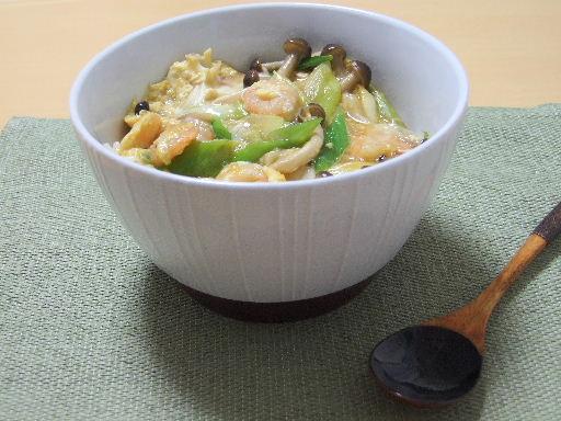えびときのこの卵とじ丼2010_0910.JPG