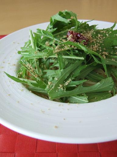 梅と水菜のペペロンチーノ2010_1203.JPG